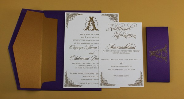 purple and gold bellyband thermo invites 2