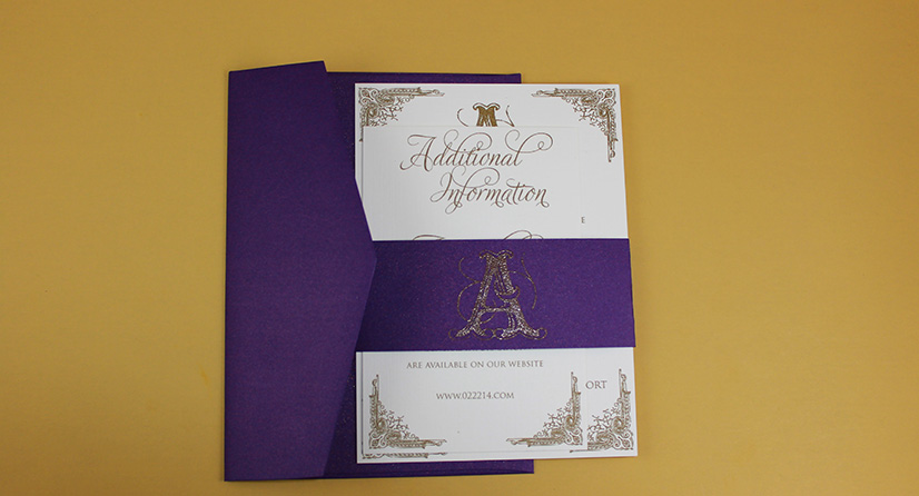 purple and gold bellyband thermo invites 1