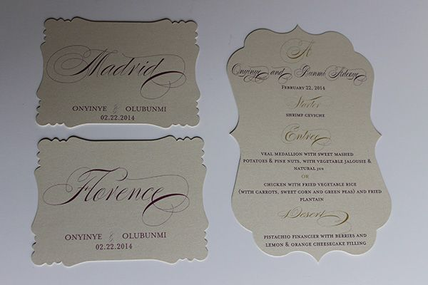 purple and gold die cut menu